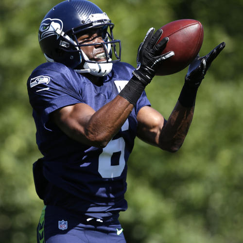 Seattle Seahawks' David Gilreath in action at an NFL football camp practice Wednesday, July 30, 2014, in Renton, Wash. (AP Photo/Elaine Thompson)